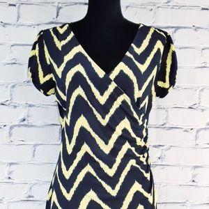 Cremieux Faux Wrap Dress Navy Yellow Chevron Med